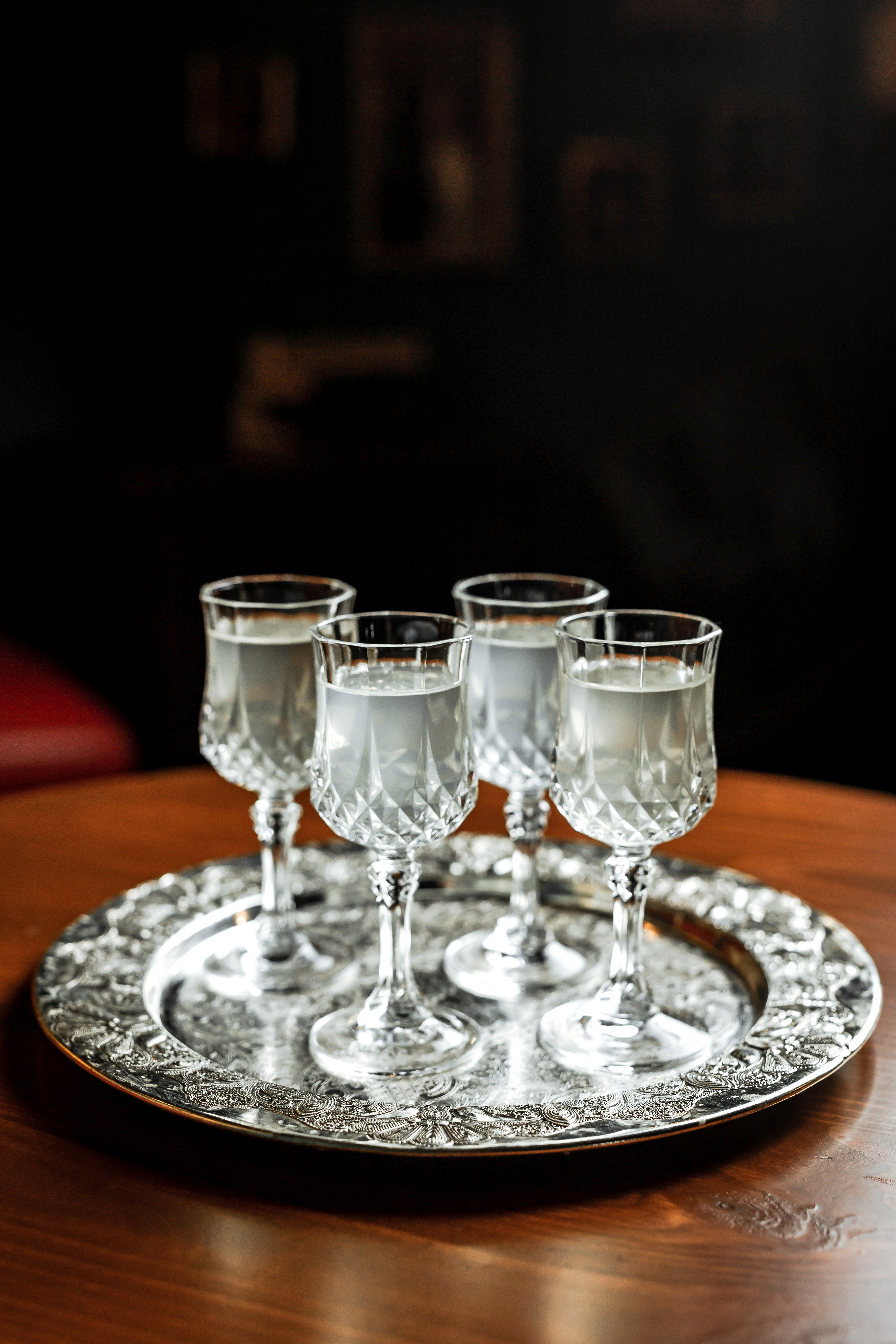 Different,Kinds,Of,White,Vermouth,In,Small,Liqueur,Glasses,On