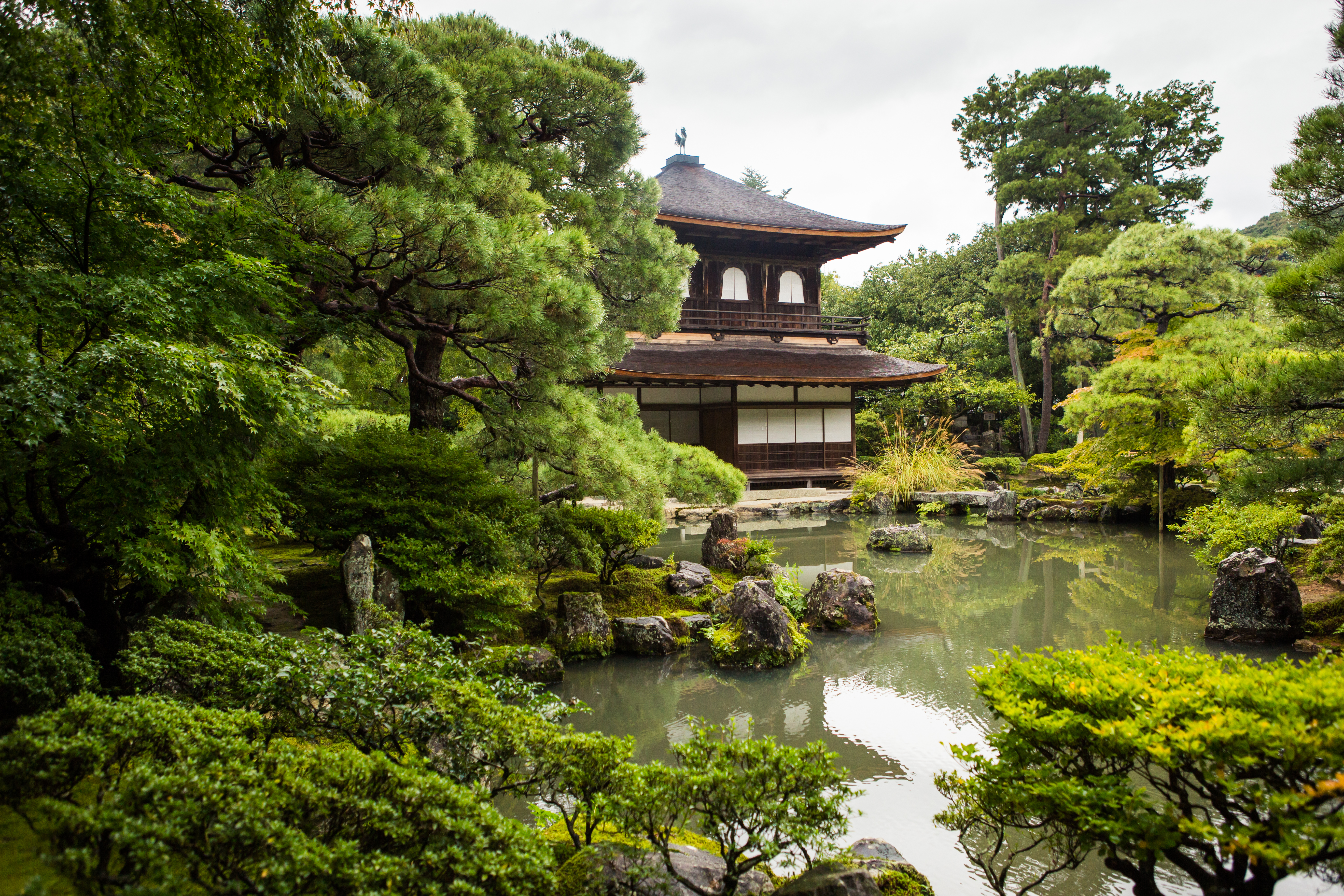 Ginkakuji,Temple,In,Raining,Day,With,Reflection.,Garden,Design,By